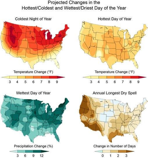Graphics Showing Projected Changes In The Coldest Night Of The Year Hottest Day Of The